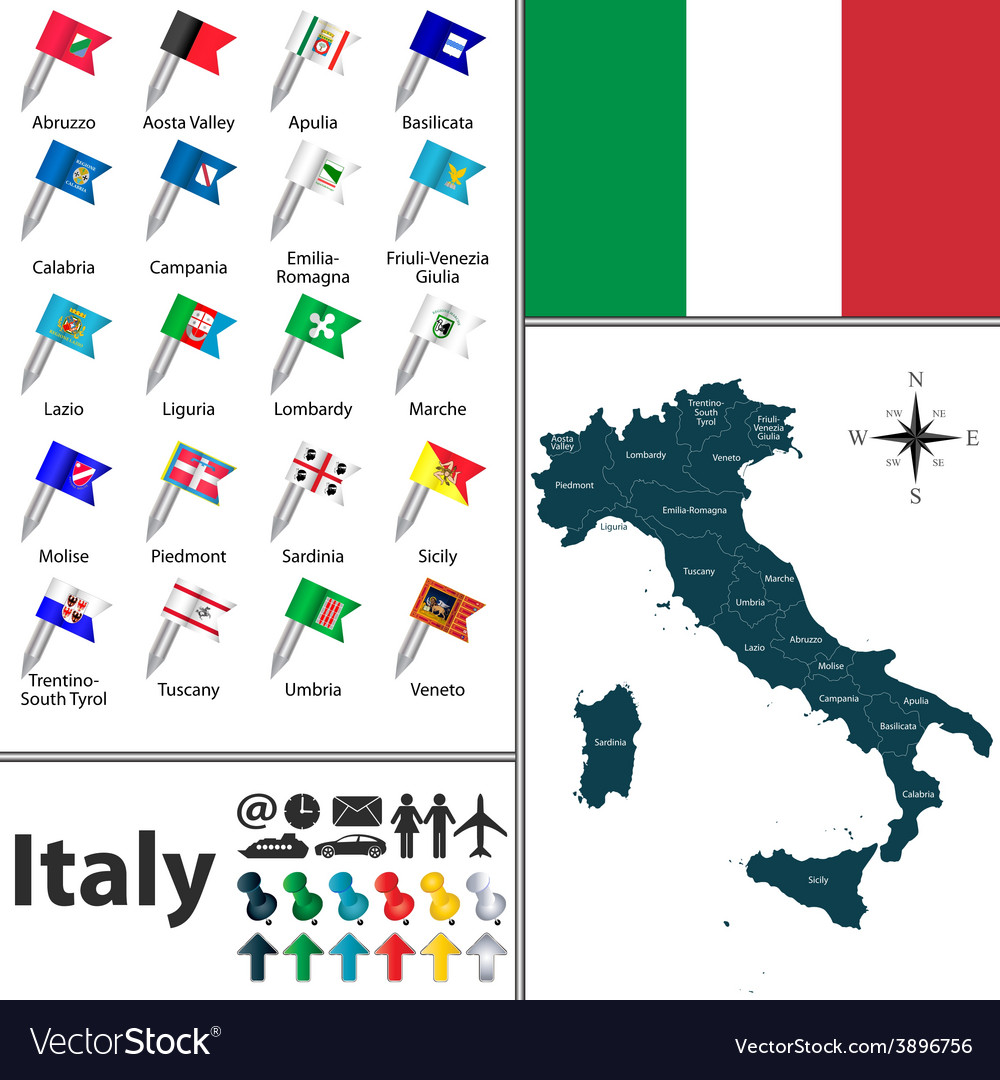 Italy map with flags vector | Price: 1 Credit (USD $1)
