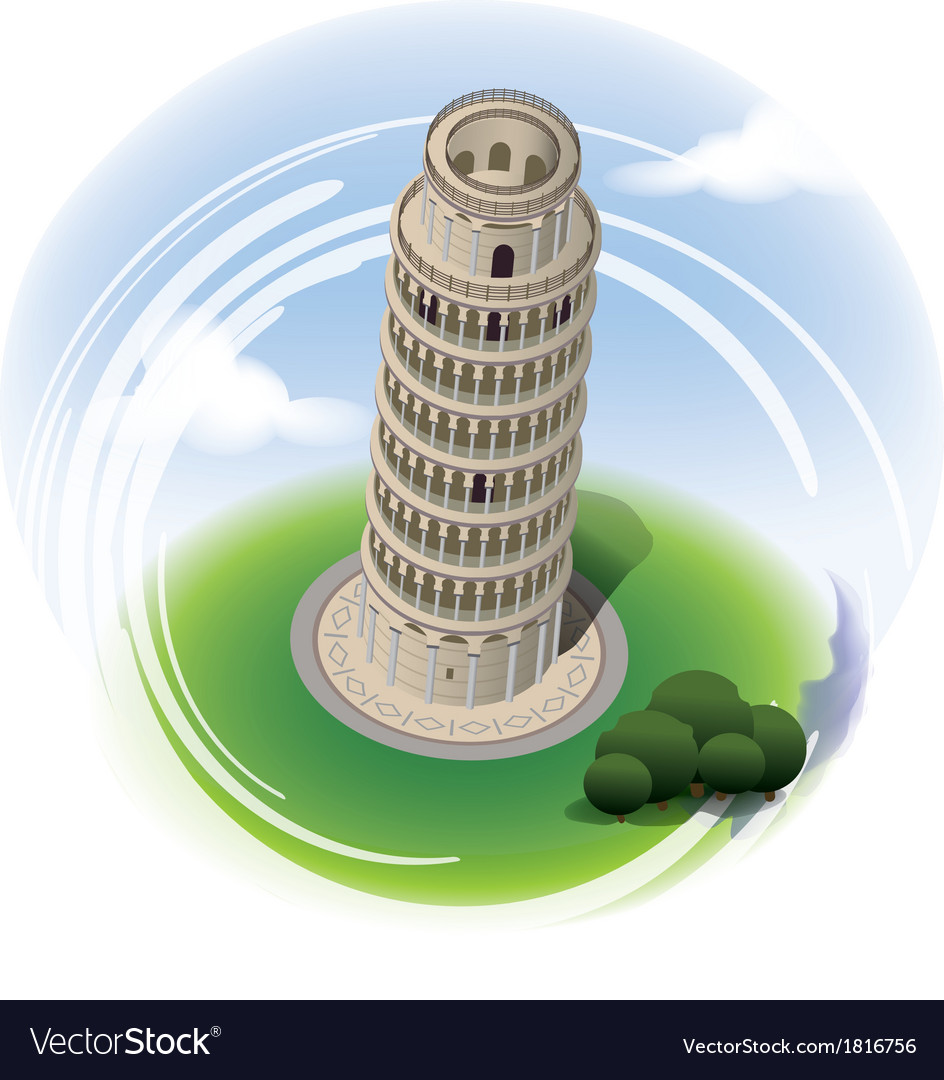 Leaning tower of pisa leaning tower vector | Price: 3 Credit (USD $3)