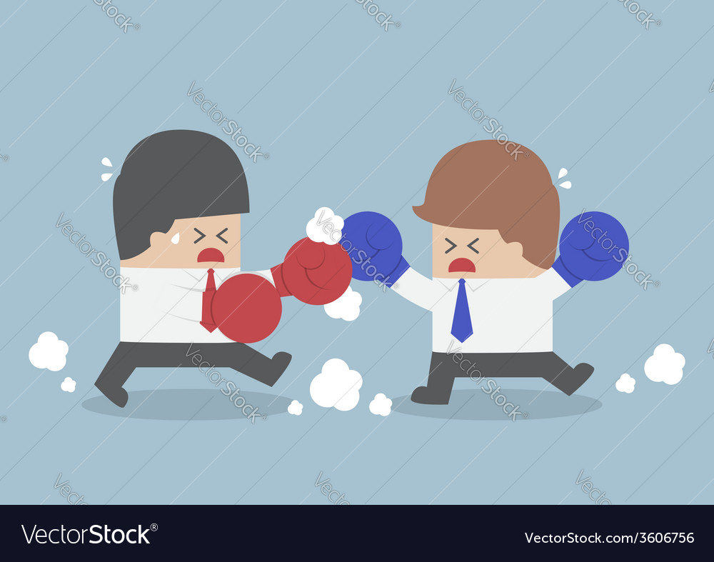 Two businessmen having a fight with boxing gloves vector | Price: 1 Credit (USD $1)