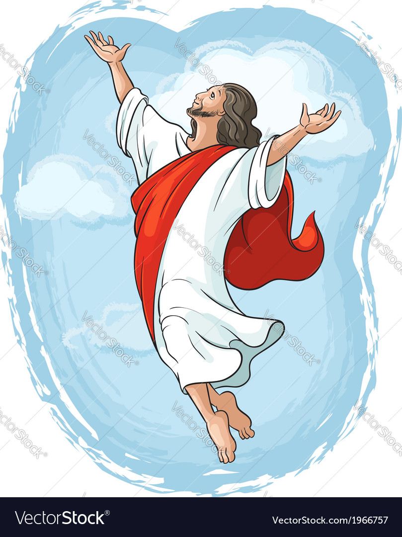 Ascension of jesus raising hands in sky vector | Price: 3 Credit (USD $3)