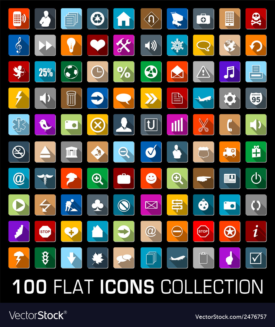 Colorful set of 100 universal flat modern icons vector | Price: 1 Credit (USD $1)