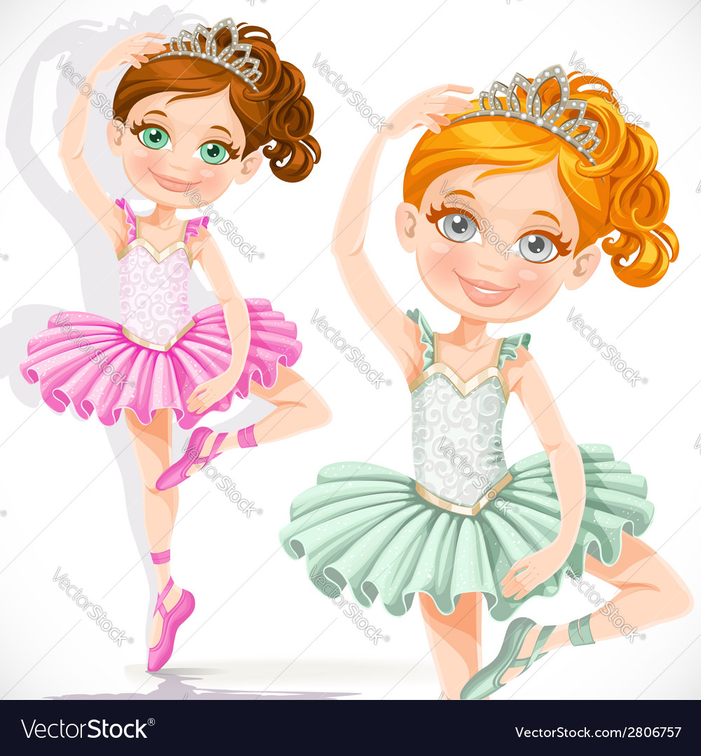 Cute little ballerina girl in pink and green tutu vector | Price: 3 Credit (USD $3)