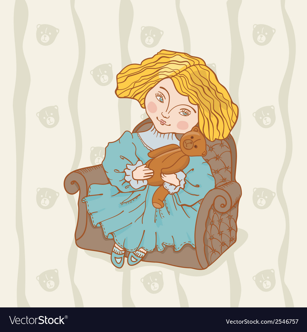Girl sitting in chair with her teddy bear vector   Price: 1 Credit (USD $1)