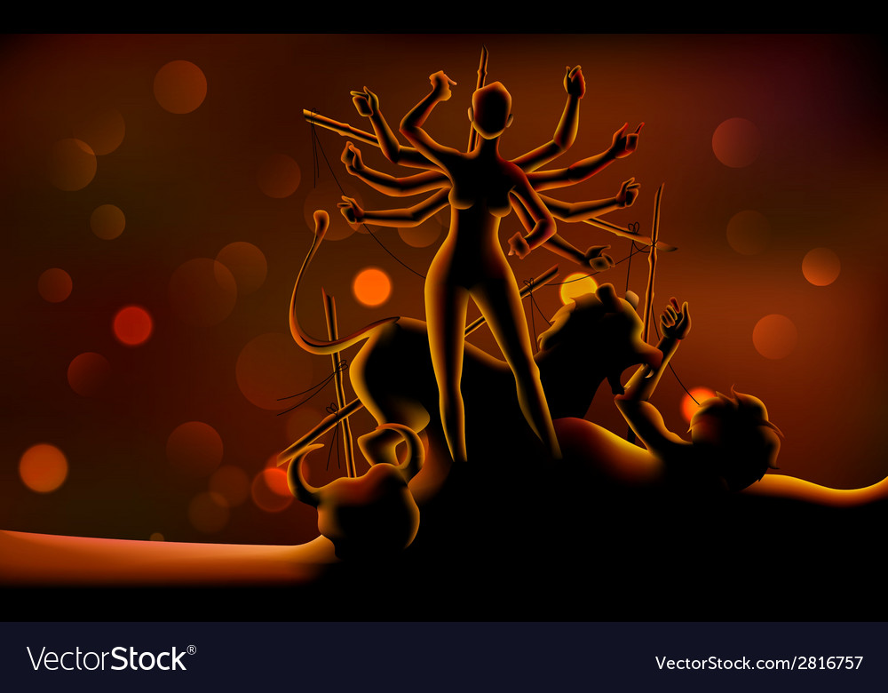 Goddess durga killing mahishasura in subh navratri vector | Price: 1 Credit (USD $1)