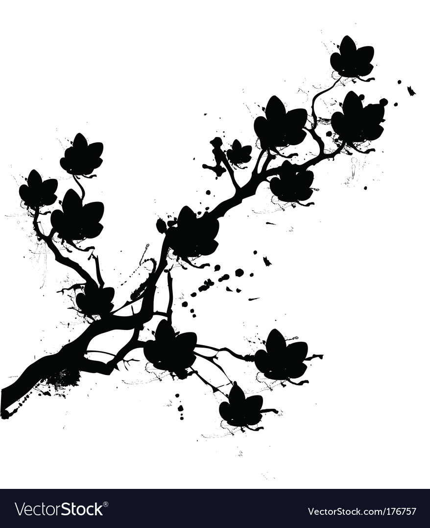 Grunge cherry blossom vector | Price: 1 Credit (USD $1)