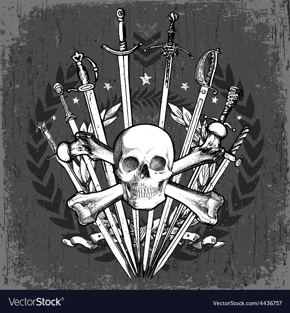 Grunge skull and swords vector | Price: 1 Credit (USD $1)
