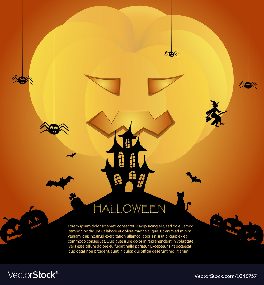 Halloween card with castle vector | Price: 1 Credit (USD $1)