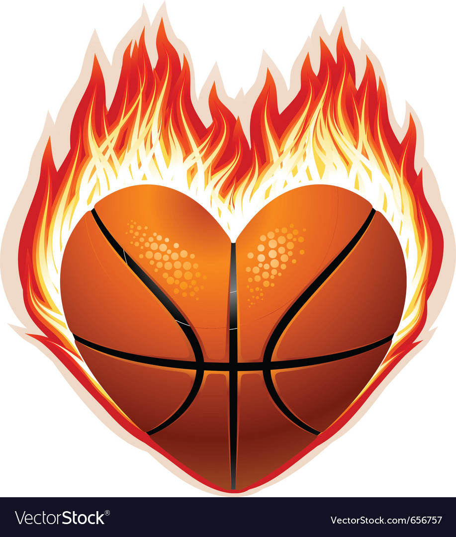 Heart shaped basketball on fire vector | Price: 1 Credit (USD $1)