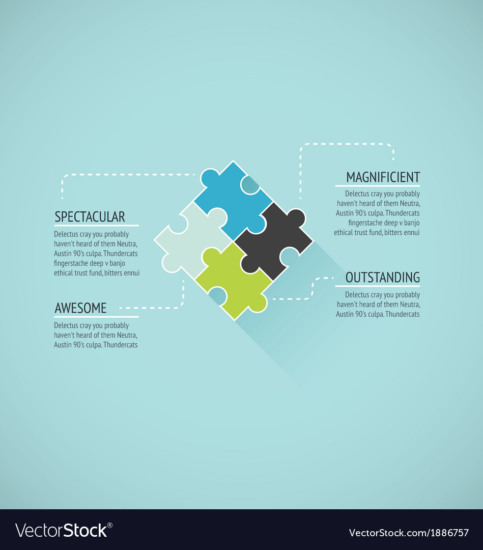 Puzzle piece flat infographics business concept ve vector | Price: 1 Credit (USD $1)