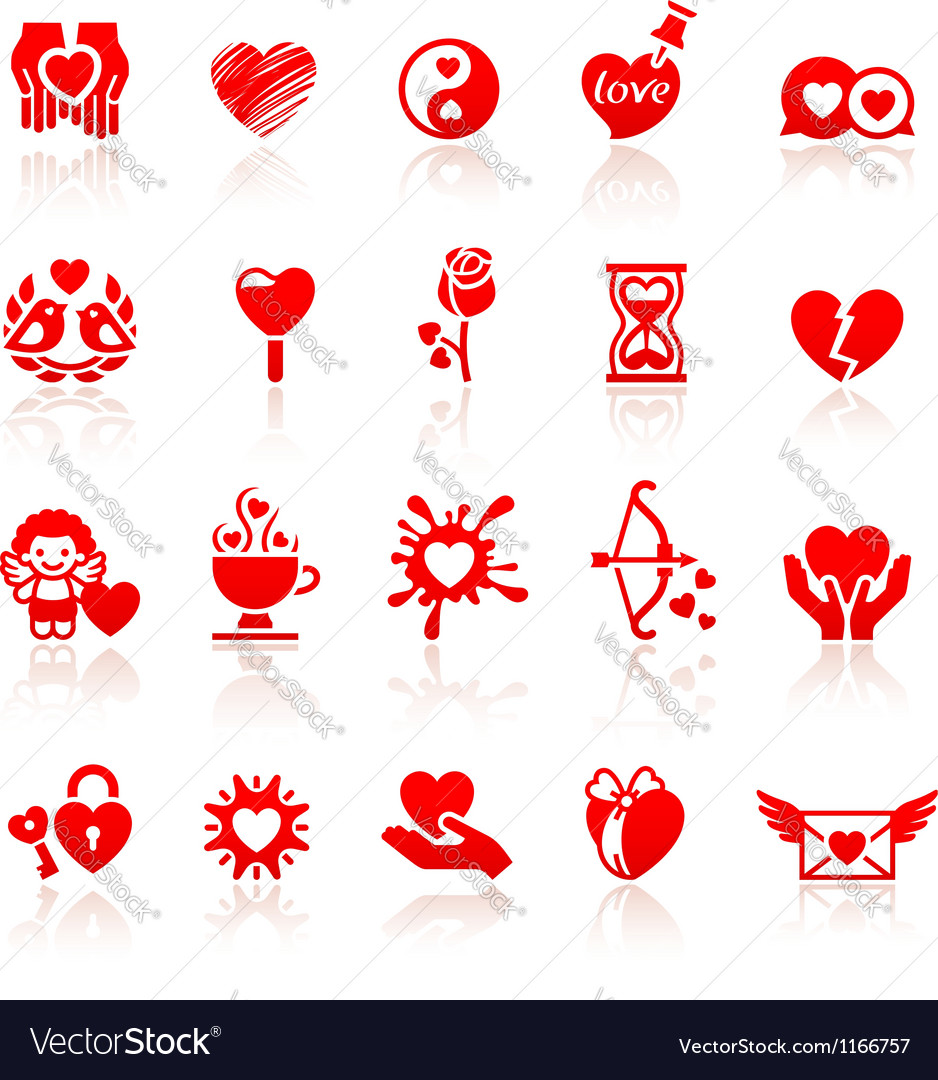 Set valentines day red icons vector | Price: 1 Credit (USD $1)