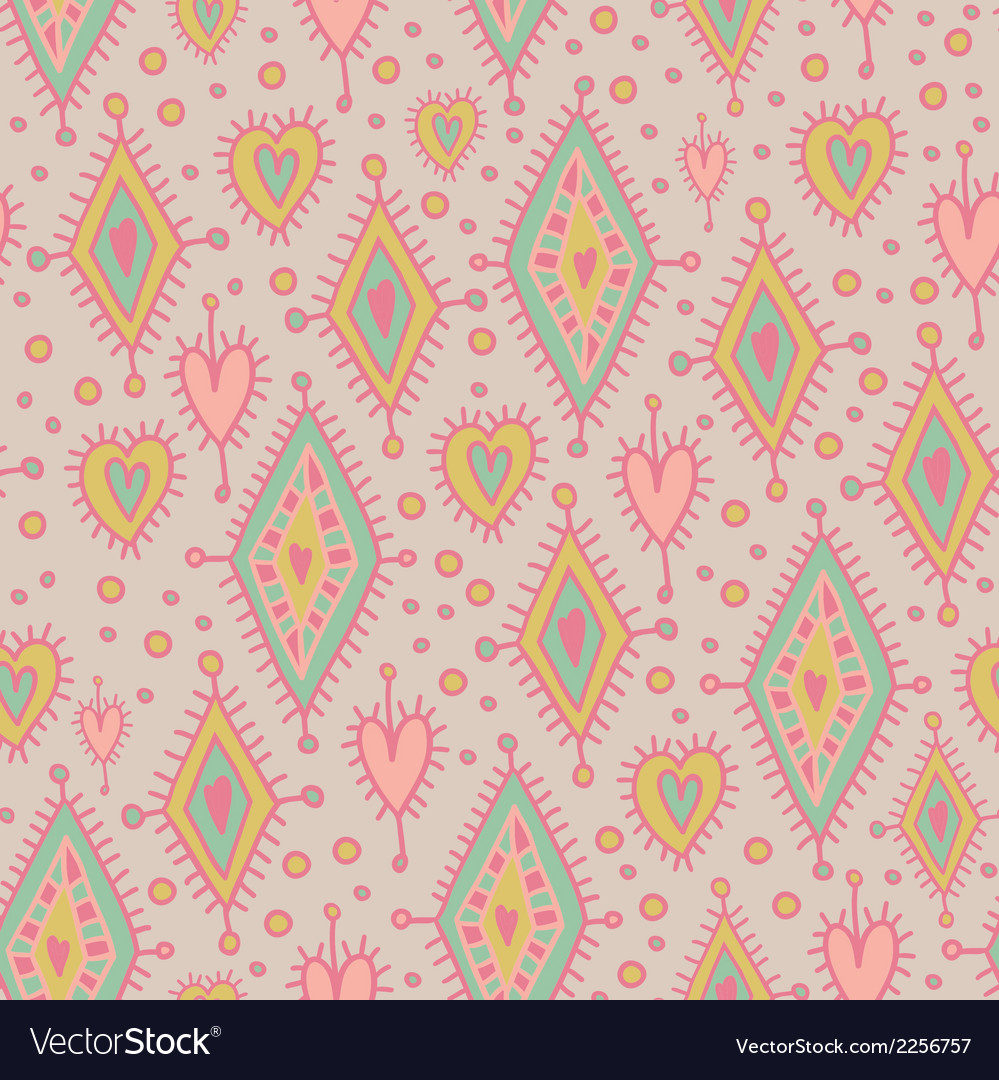 Simless pattern with geometric elements and hearts vector | Price: 1 Credit (USD $1)
