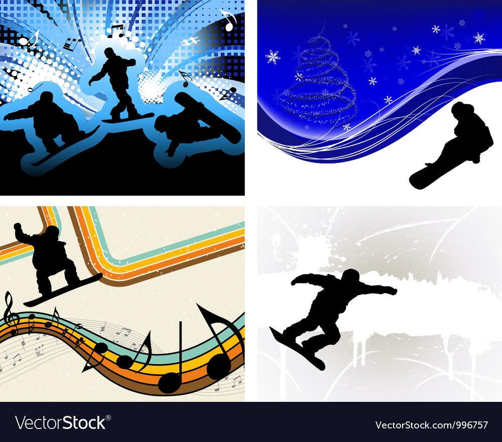 Snowboard backgr set vector | Price: 1 Credit (USD $1)