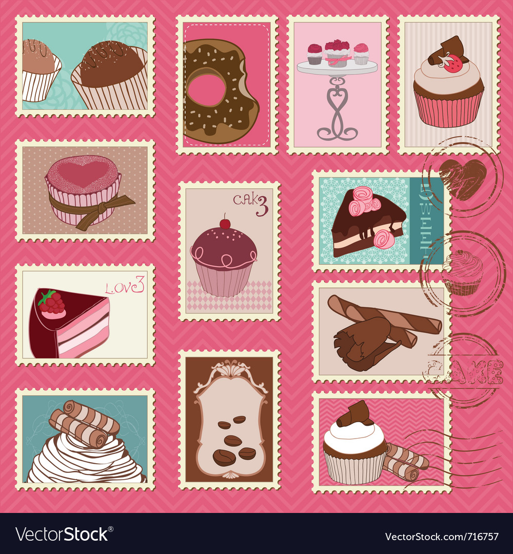 Sweet cakes and desserts postage stamps vector | Price: 1 Credit (USD $1)