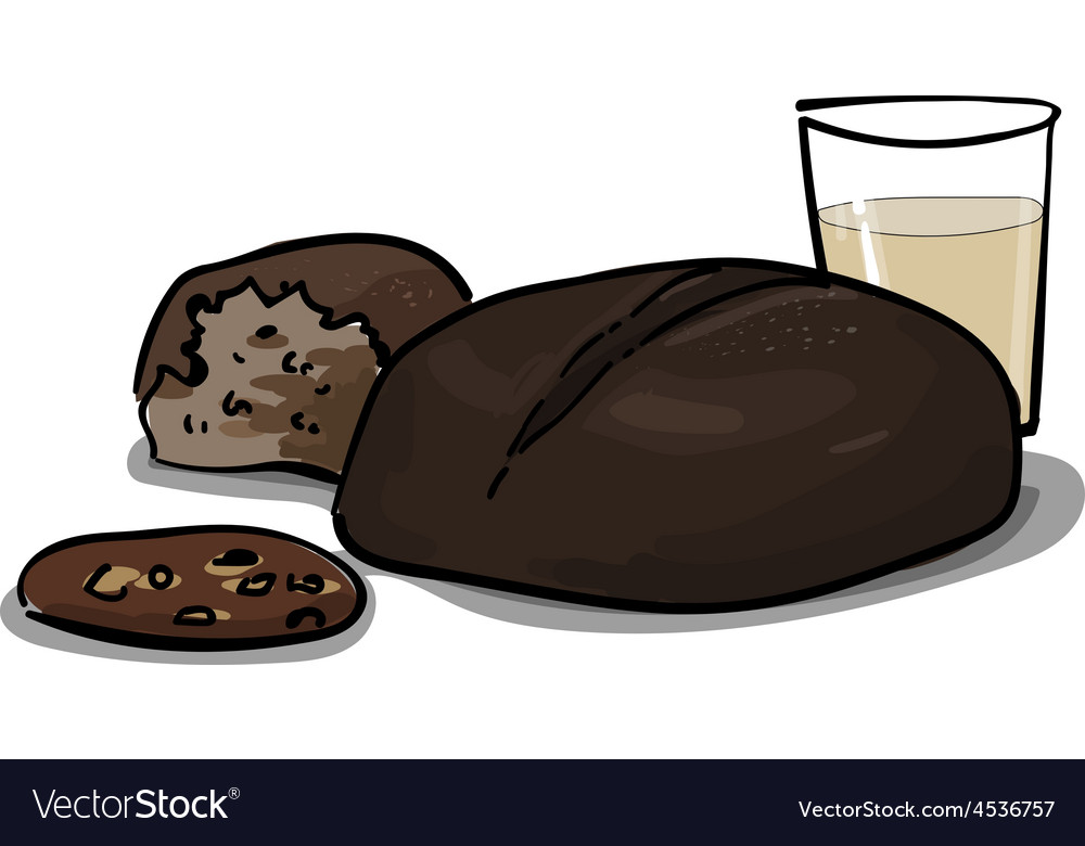 Whole wheat and rye bread with milk healthy cerea vector | Price: 1 Credit (USD $1)