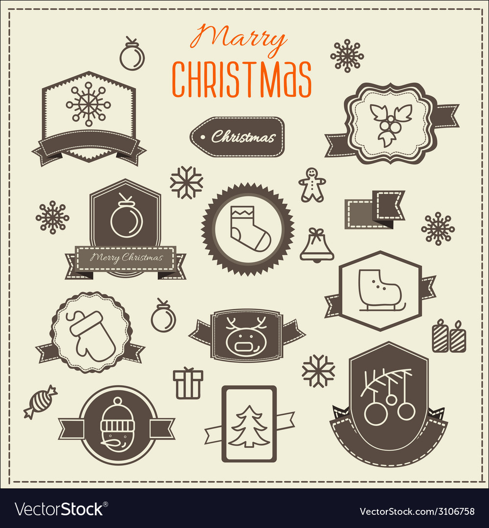 Christmas decoration design elements collection vector | Price: 1 Credit (USD $1)
