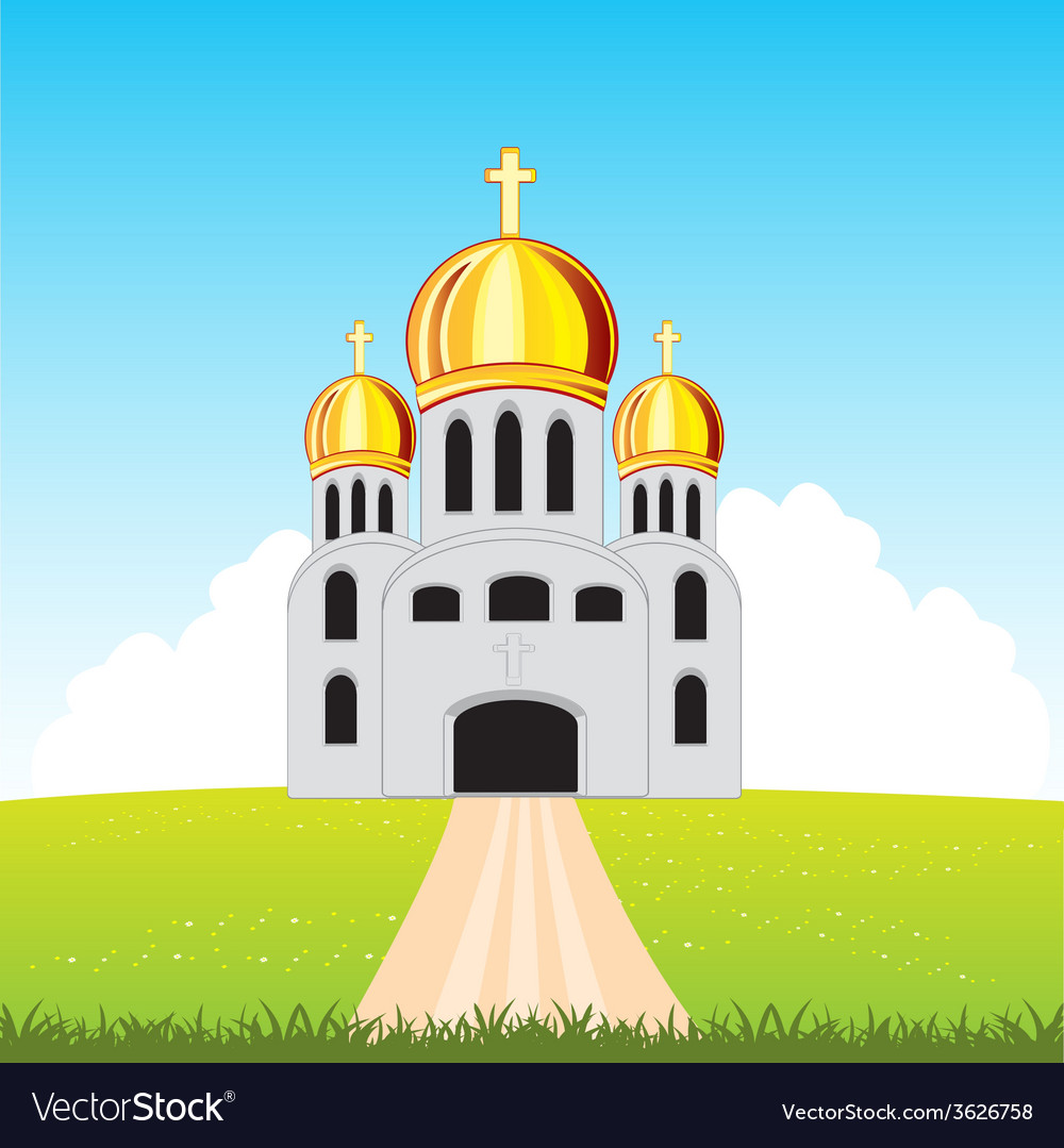 Church in field vector | Price: 1 Credit (USD $1)