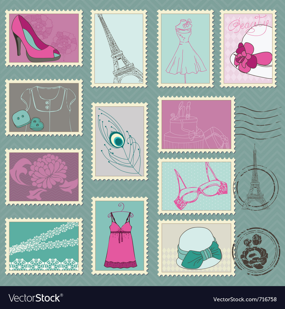 Fashion stamp collection vector | Price: 1 Credit (USD $1)