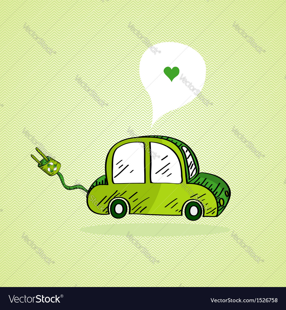 Hand drawn green car vector | Price: 1 Credit (USD $1)