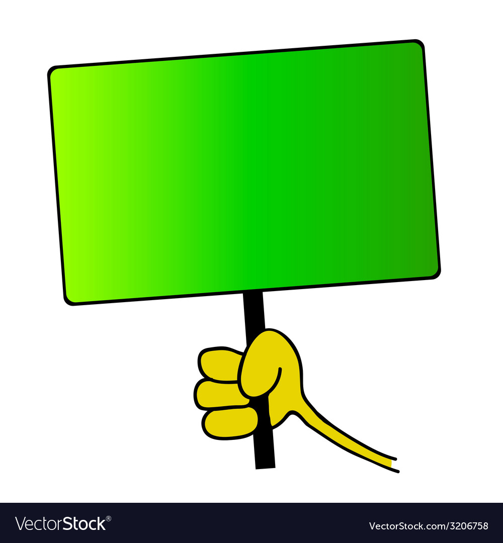 Hand holding green board vector | Price: 1 Credit (USD $1)