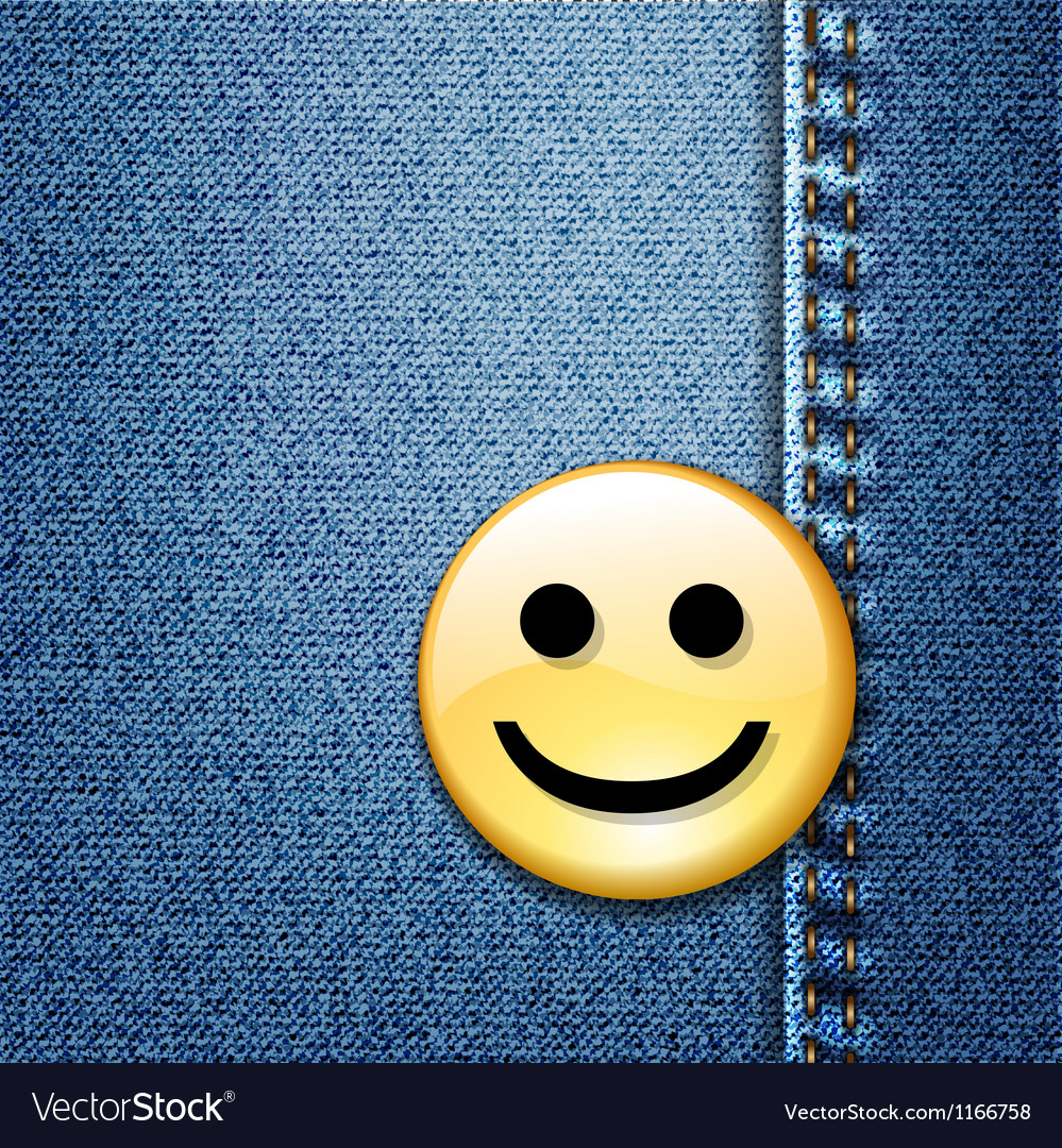 Happy smiley face badge on blue denim vector | Price: 1 Credit (USD $1)