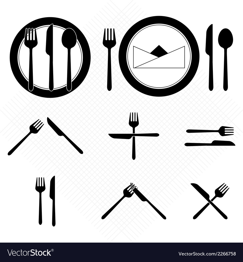 Plate icons with fork and knife sign vector | Price: 1 Credit (USD $1)