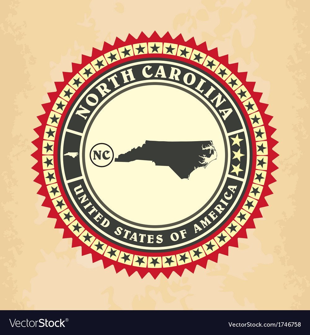 Vintage label-sticker cards of north carolina vector | Price: 1 Credit (USD $1)