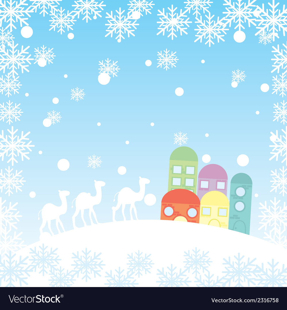Winter landscape with camels houses and snowflakes vector | Price: 1 Credit (USD $1)