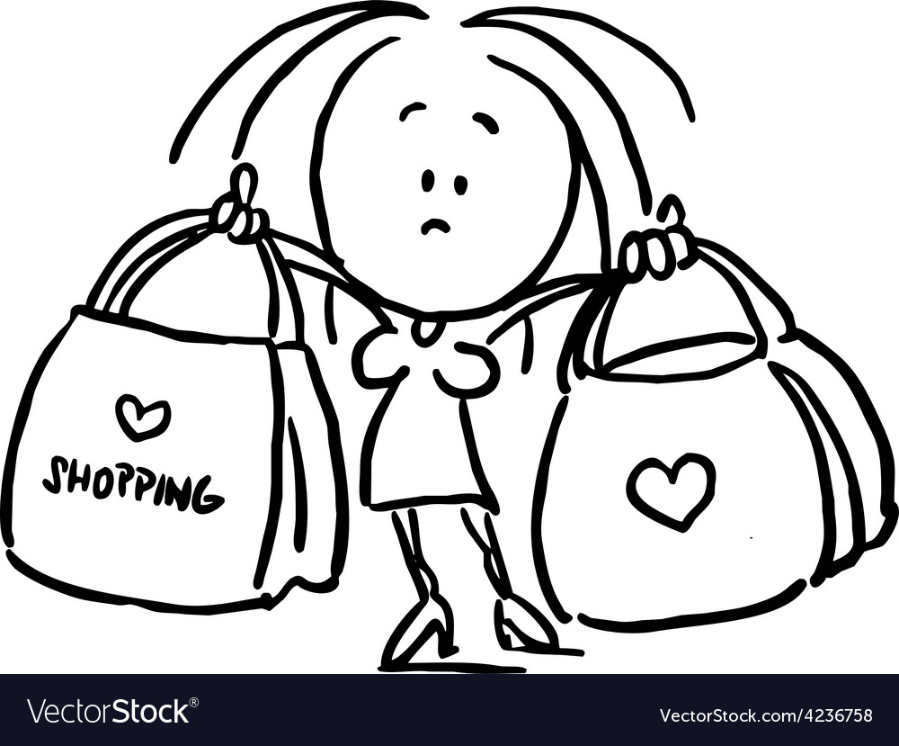 Woman holding shopping bags - black outline sketch vector | Price: 1 Credit (USD $1)