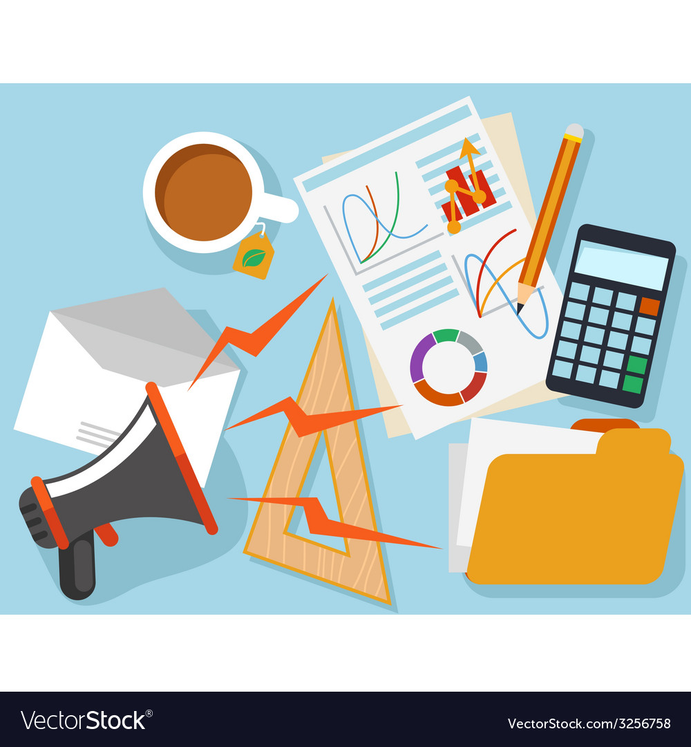 Workplace with office object and documents vector | Price: 1 Credit (USD $1)