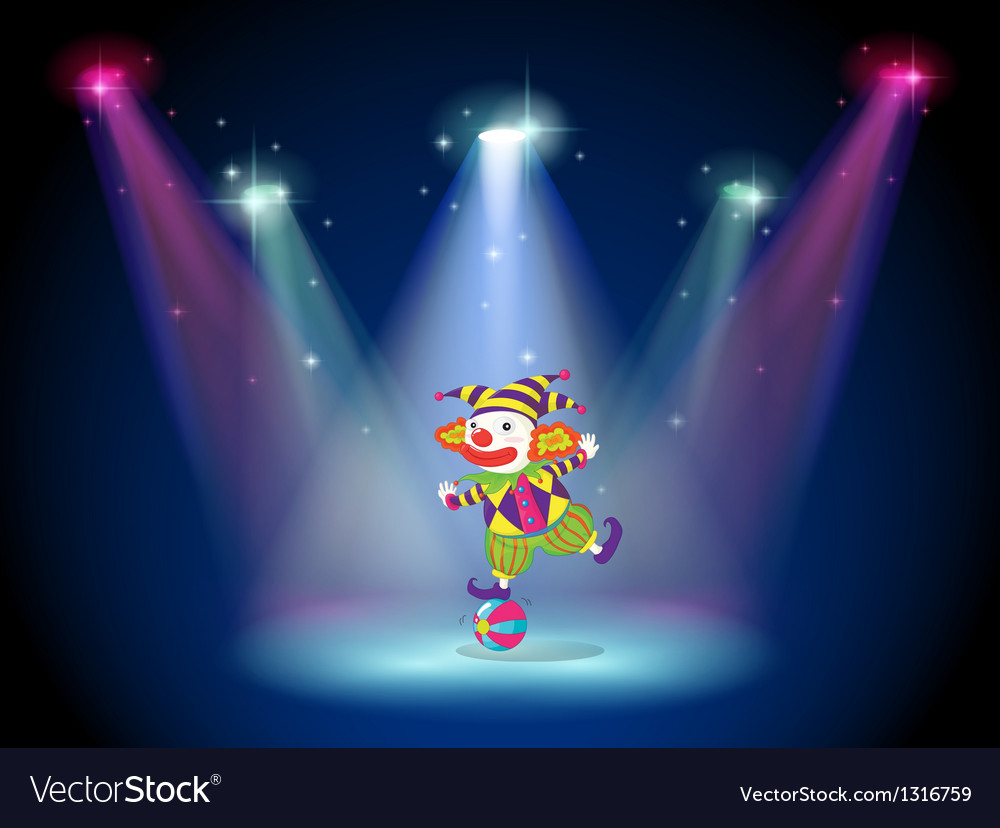 A clown dancing above the ball with spotlights vector | Price: 1 Credit (USD $1)