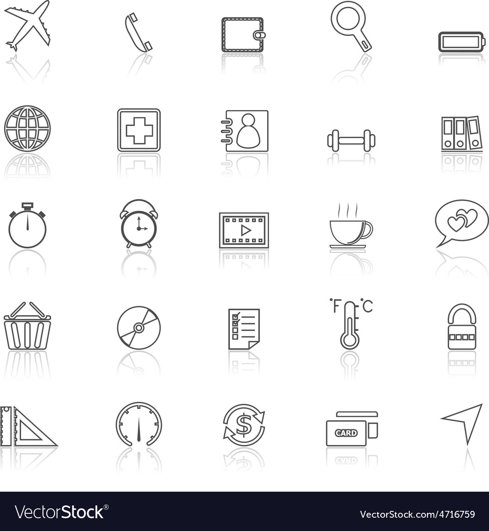 Application line icons with reflect on whiteset 2 vector | Price: 1 Credit (USD $1)