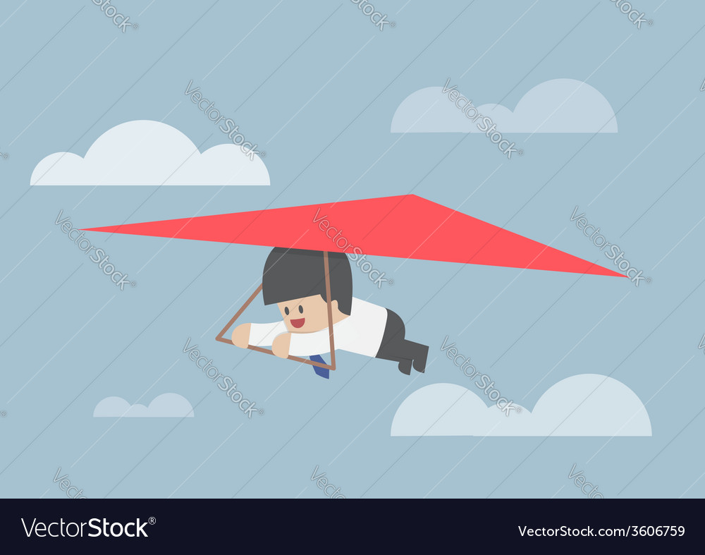 Businessman riding a hang glider vector | Price: 1 Credit (USD $1)