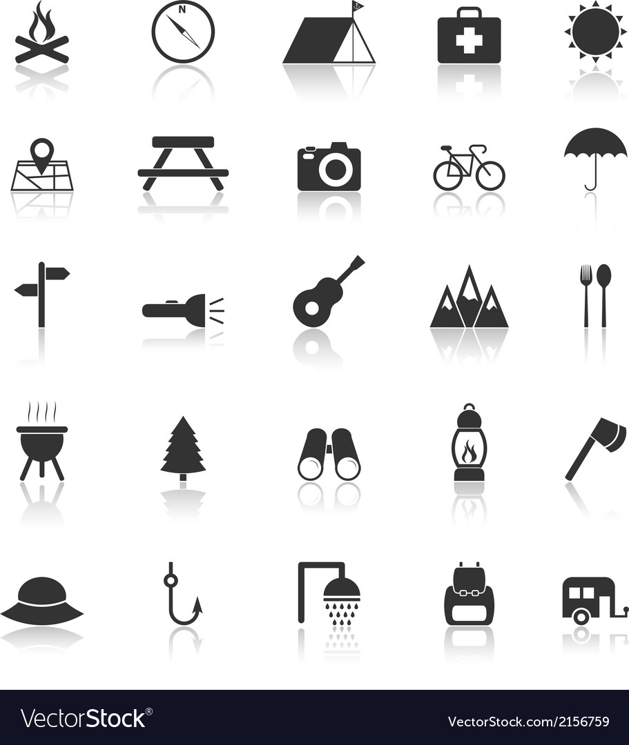 Camping icons with reflect on white background vector | Price: 1 Credit (USD $1)