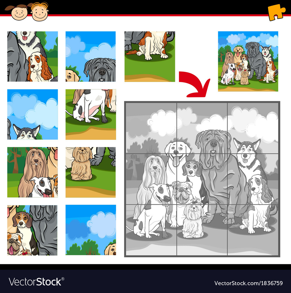 Cartoon dogs jigsaw puzzle game vector | Price: 1 Credit (USD $1)