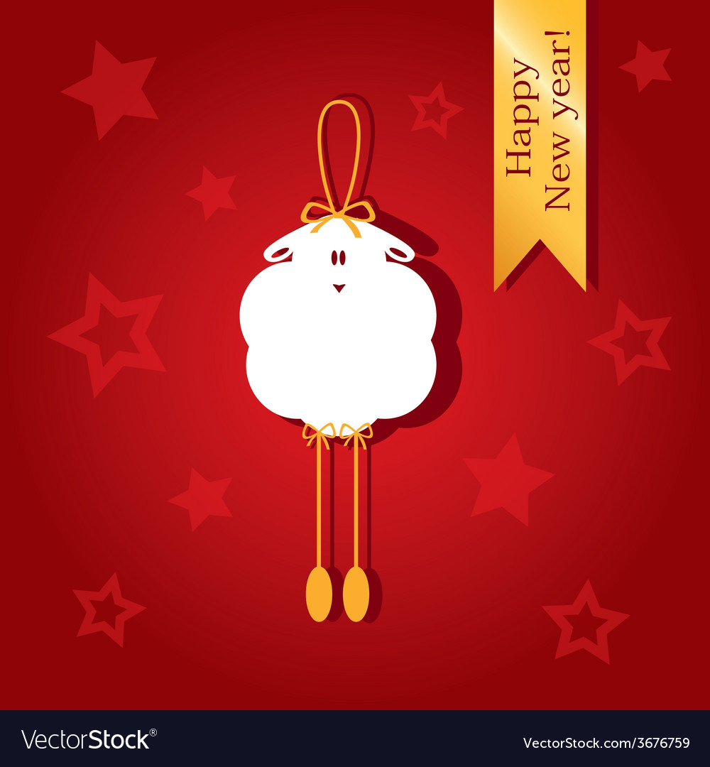 Christmas card with a picture of sheep vector | Price: 1 Credit (USD $1)