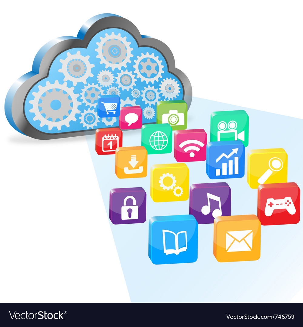 Cloud computing and applications vector   Price: 1 Credit (USD $1)