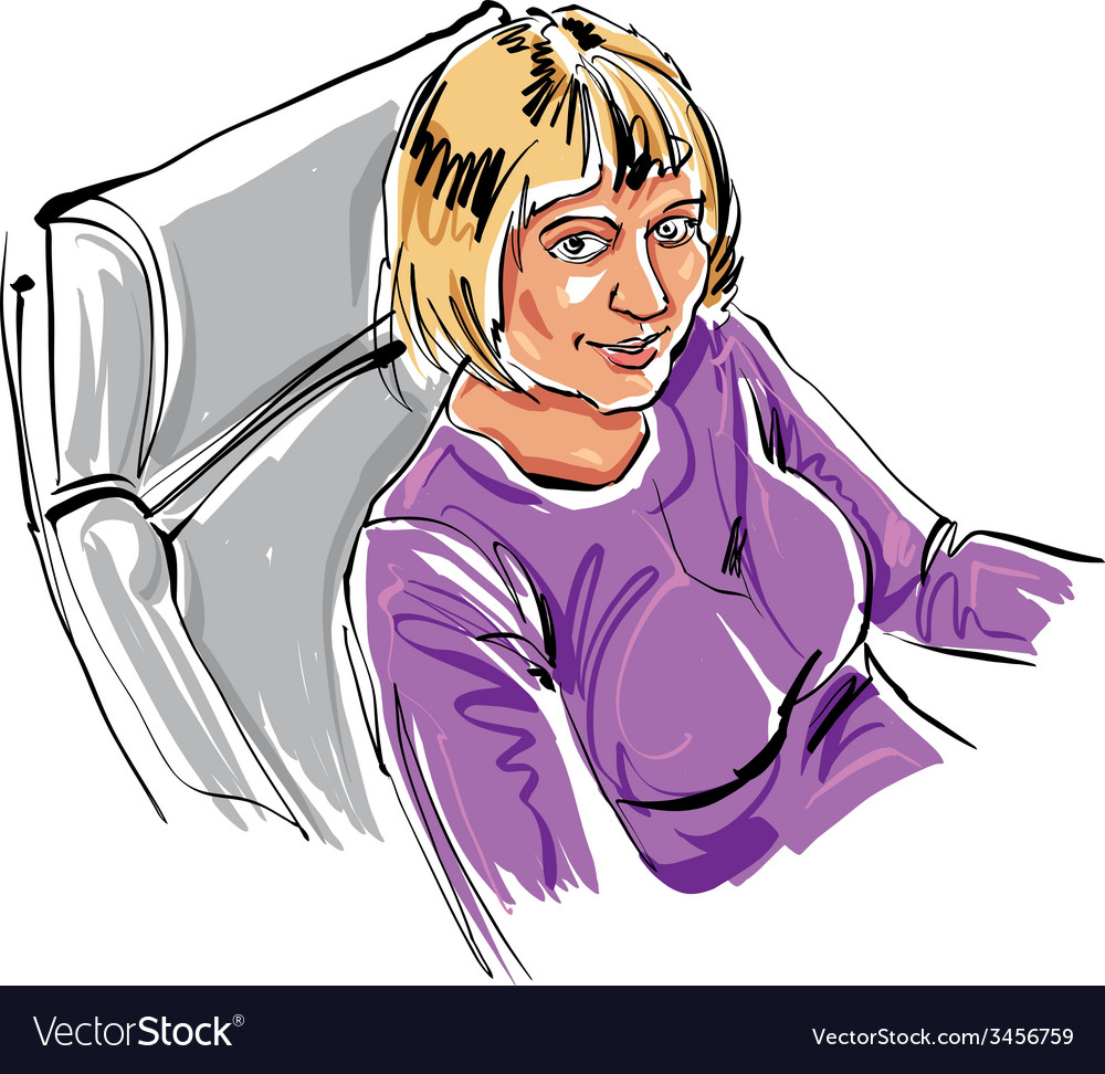 Colorful hand drawn of a girl sitting in the vector | Price: 1 Credit (USD $1)