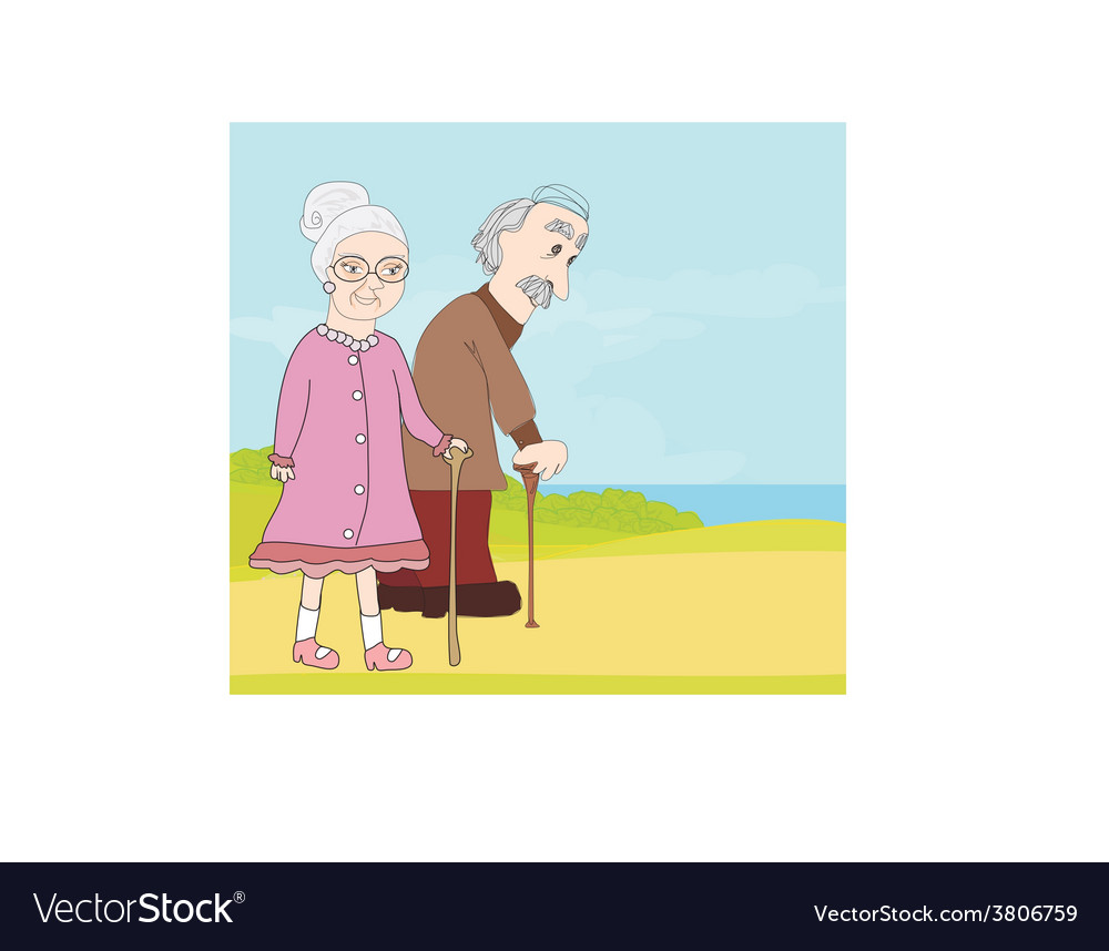 Elderly couple vector | Price: 1 Credit (USD $1)