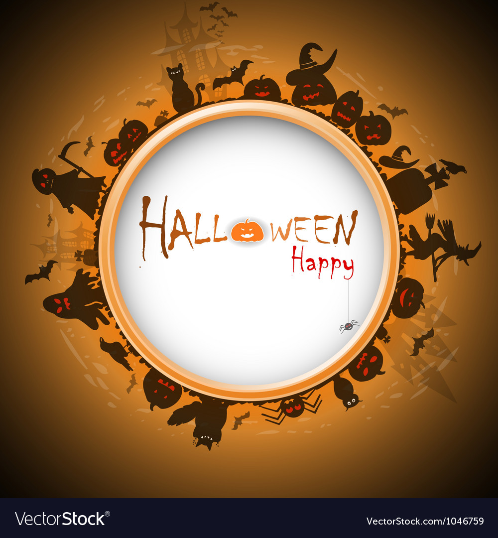 Happy halloween with devildom in fog vector | Price: 1 Credit (USD $1)