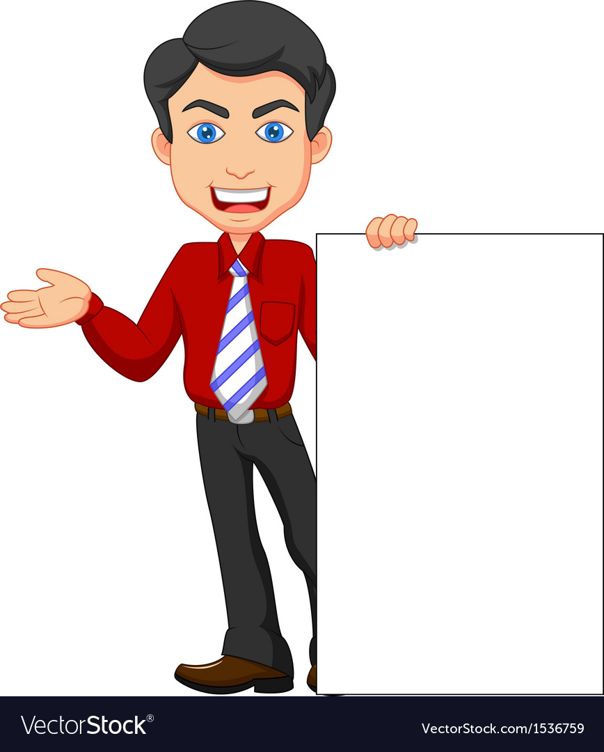 Office worker cartoon with blank sign vector | Price: 1 Credit (USD $1)