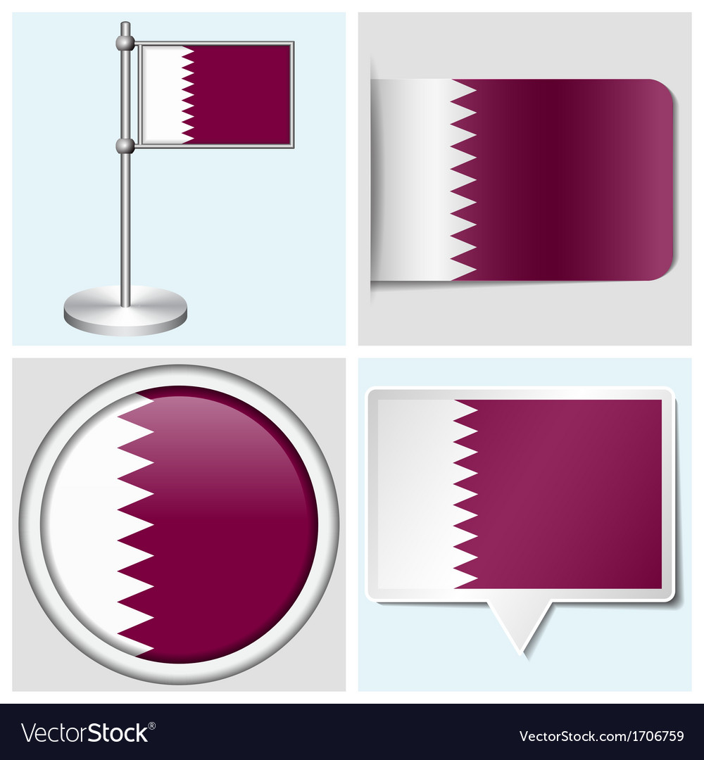Qatar flag - sticker button label flagstaff vector | Price: 1 Credit (USD $1)
