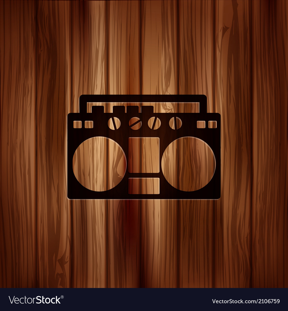 Retro tape recorderwooden background vector | Price: 1 Credit (USD $1)