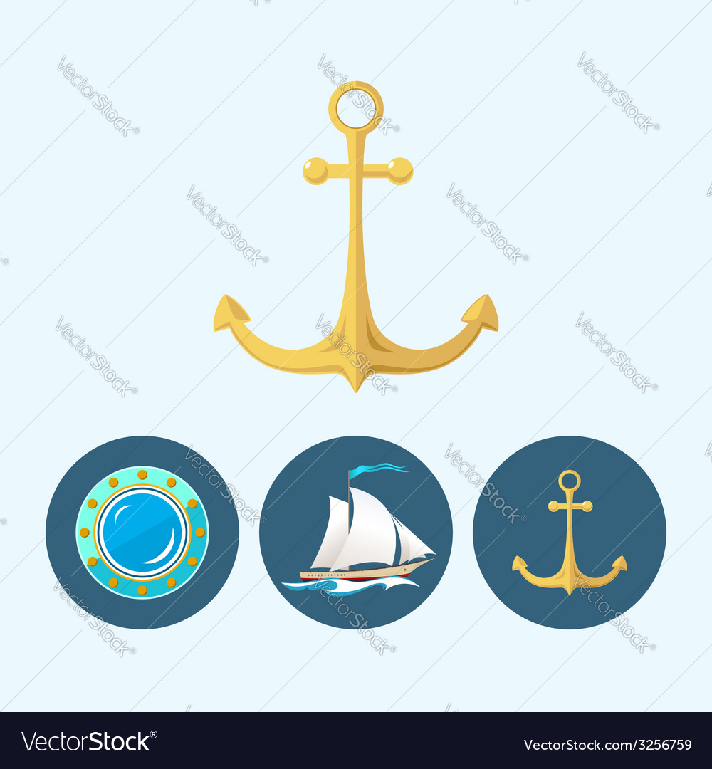 Set icons with sailing vessel anchor  porthole vector | Price: 1 Credit (USD $1)