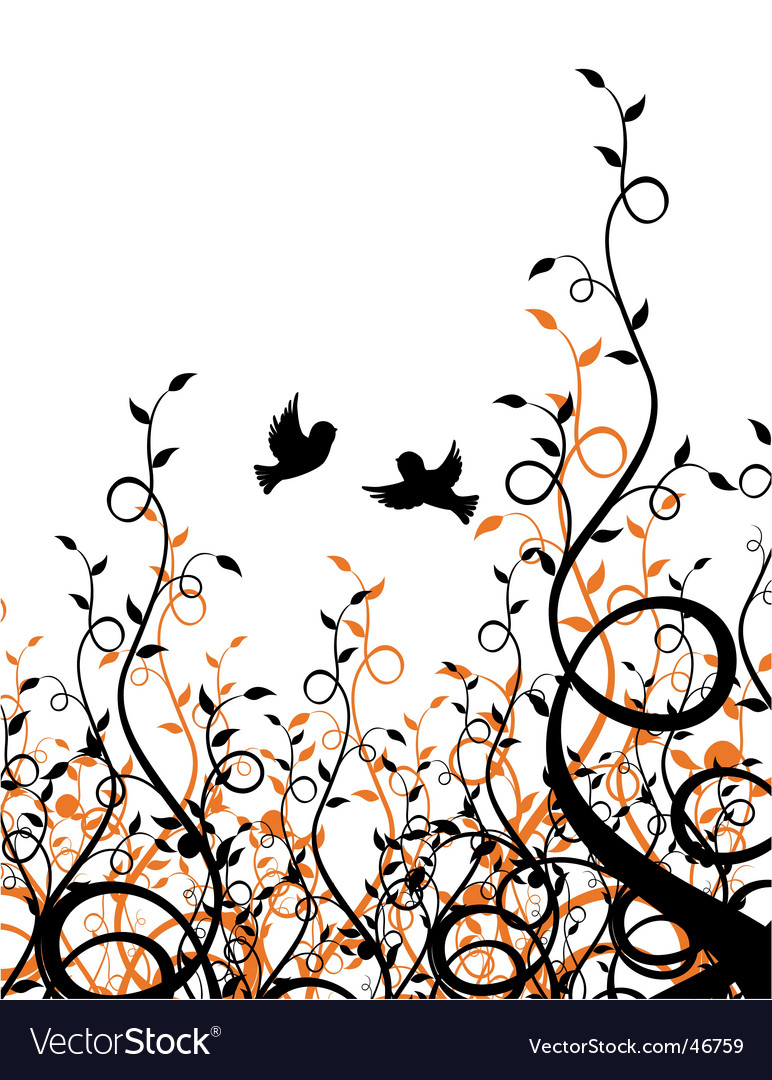 Sparrows on ivy vector | Price: 1 Credit (USD $1)
