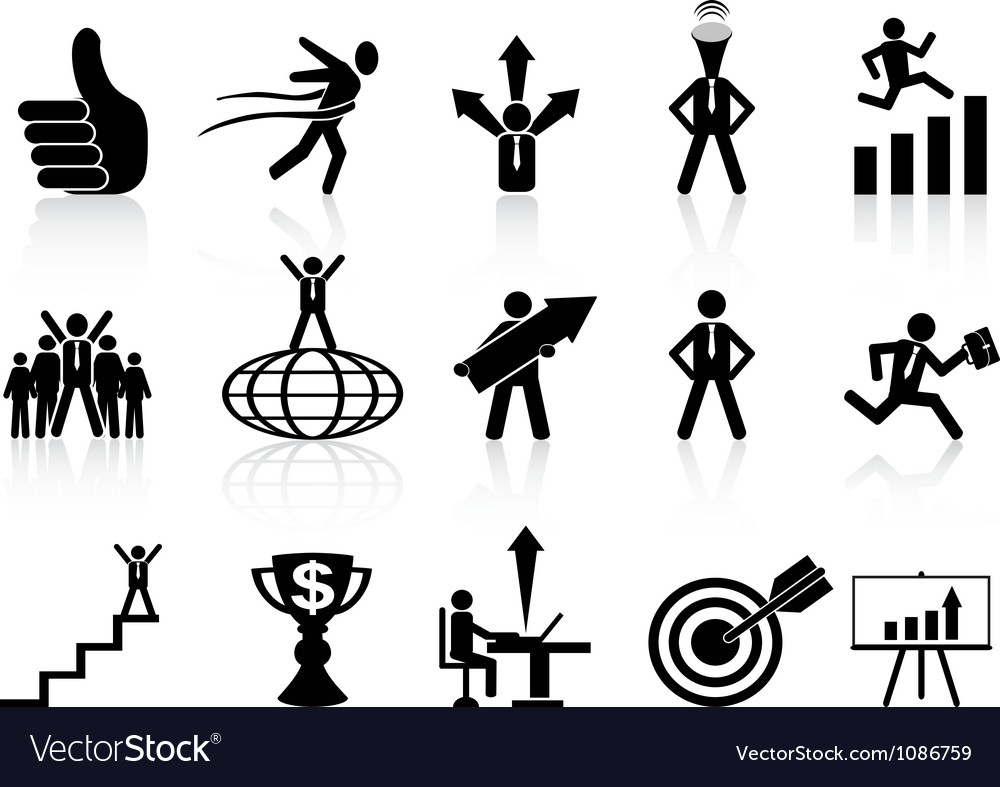 Successful business icons set vector | Price: 1 Credit (USD $1)