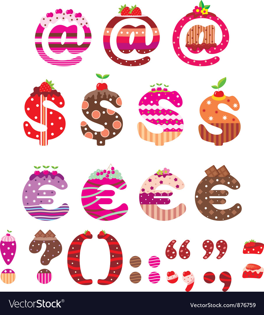 Sweet punctuation marks dollar sign and euro vector | Price: 1 Credit (USD $1)
