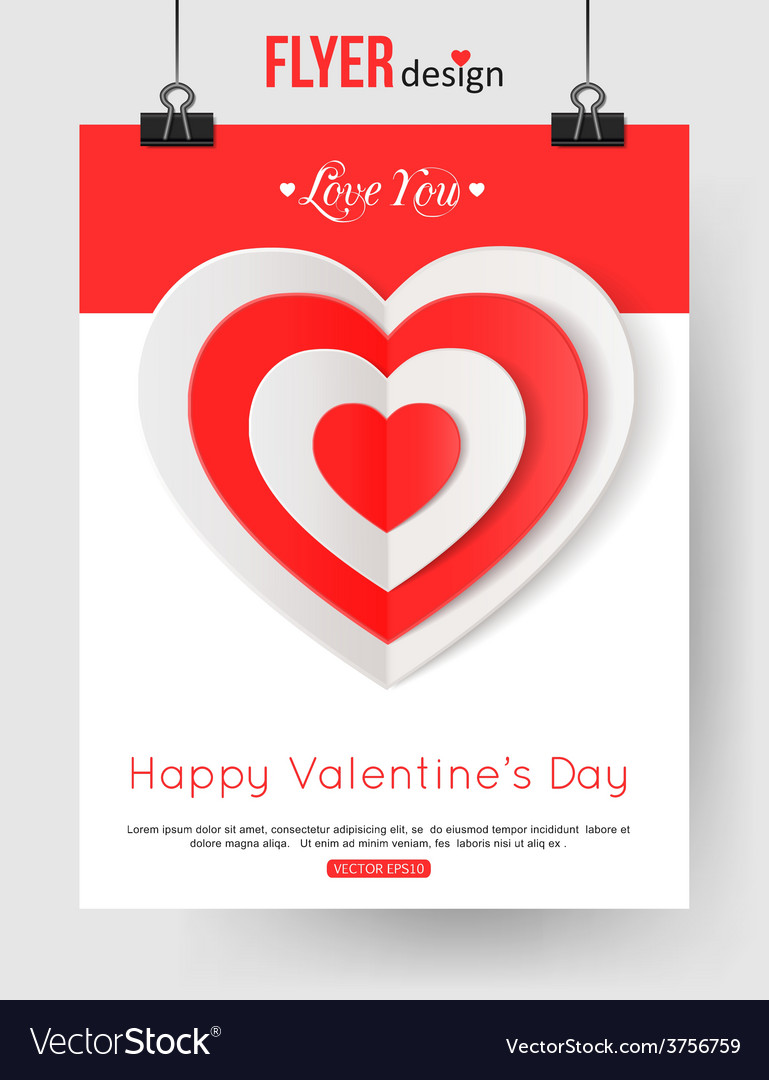 Valentines day brochure template with paper hearts vector | Price: 1 Credit (USD $1)