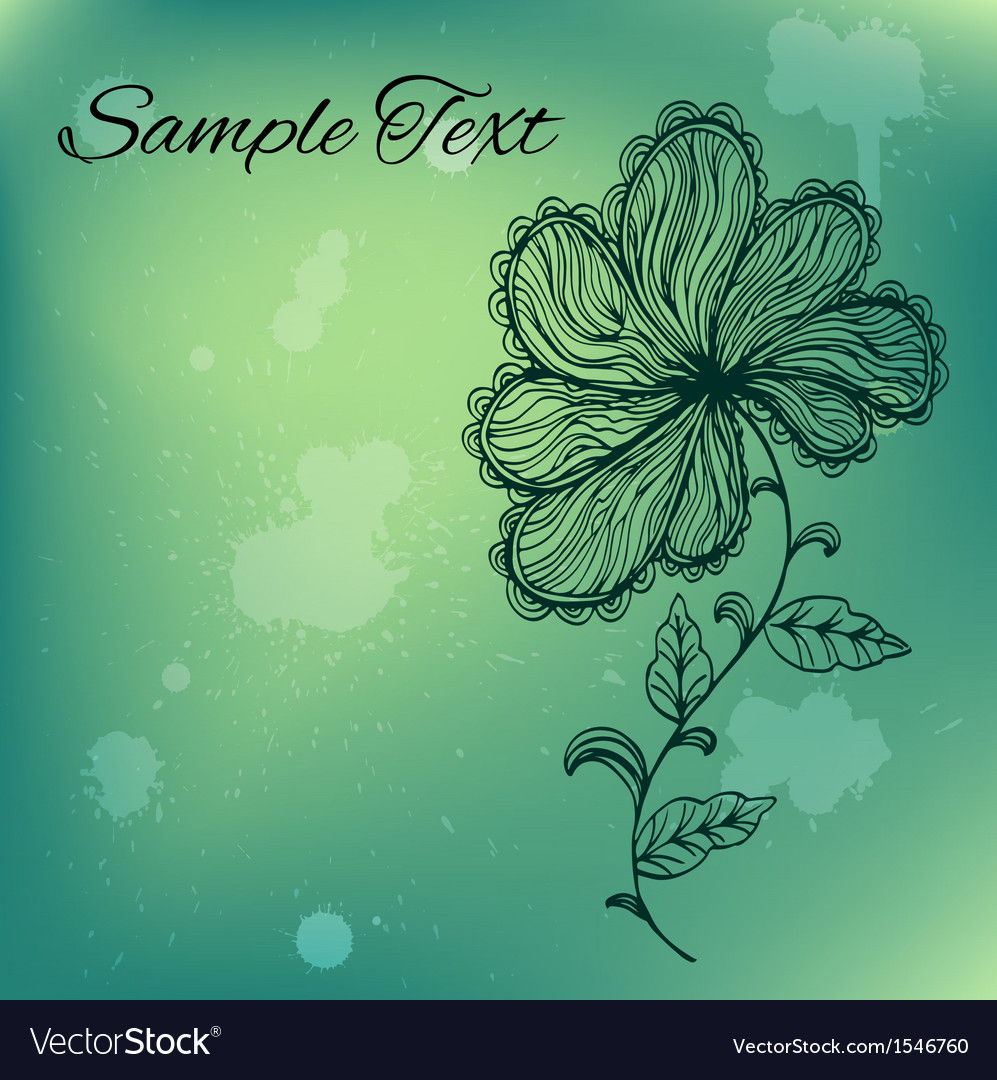 Abstract doodle flower on colorful backgound vector | Price: 1 Credit (USD $1)