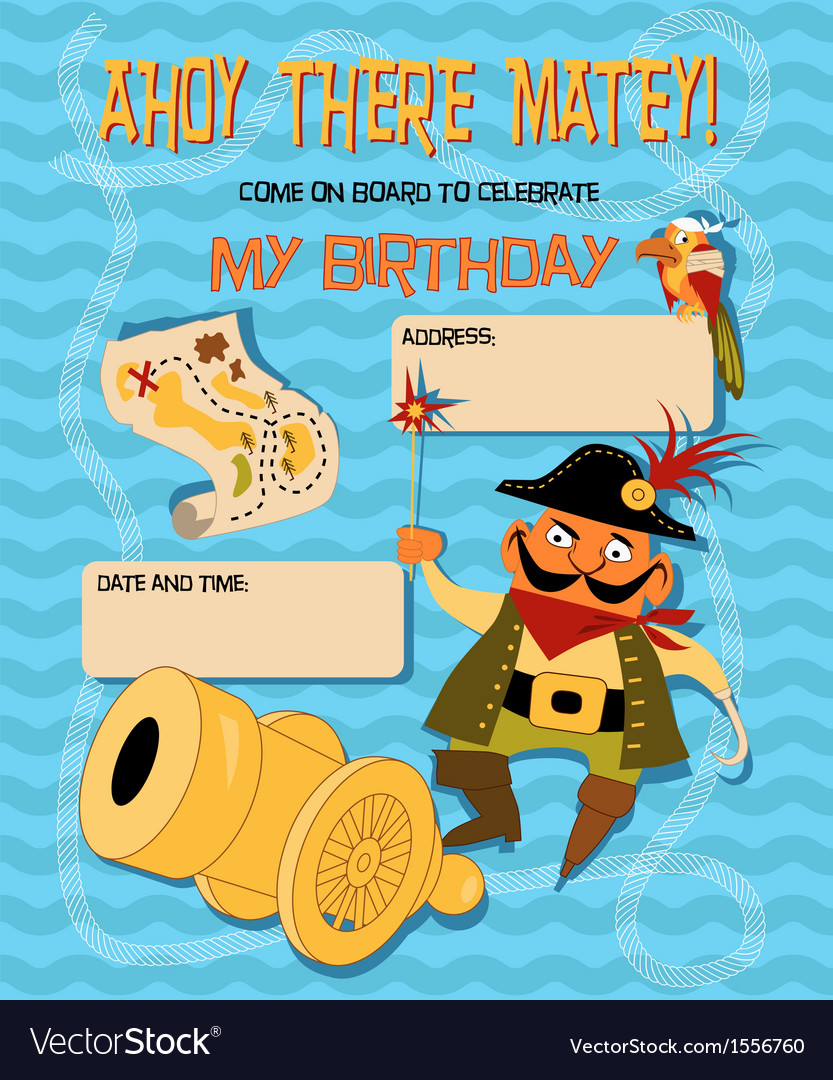 Birthday card with a cartoon pirate vector | Price: 1 Credit (USD $1)