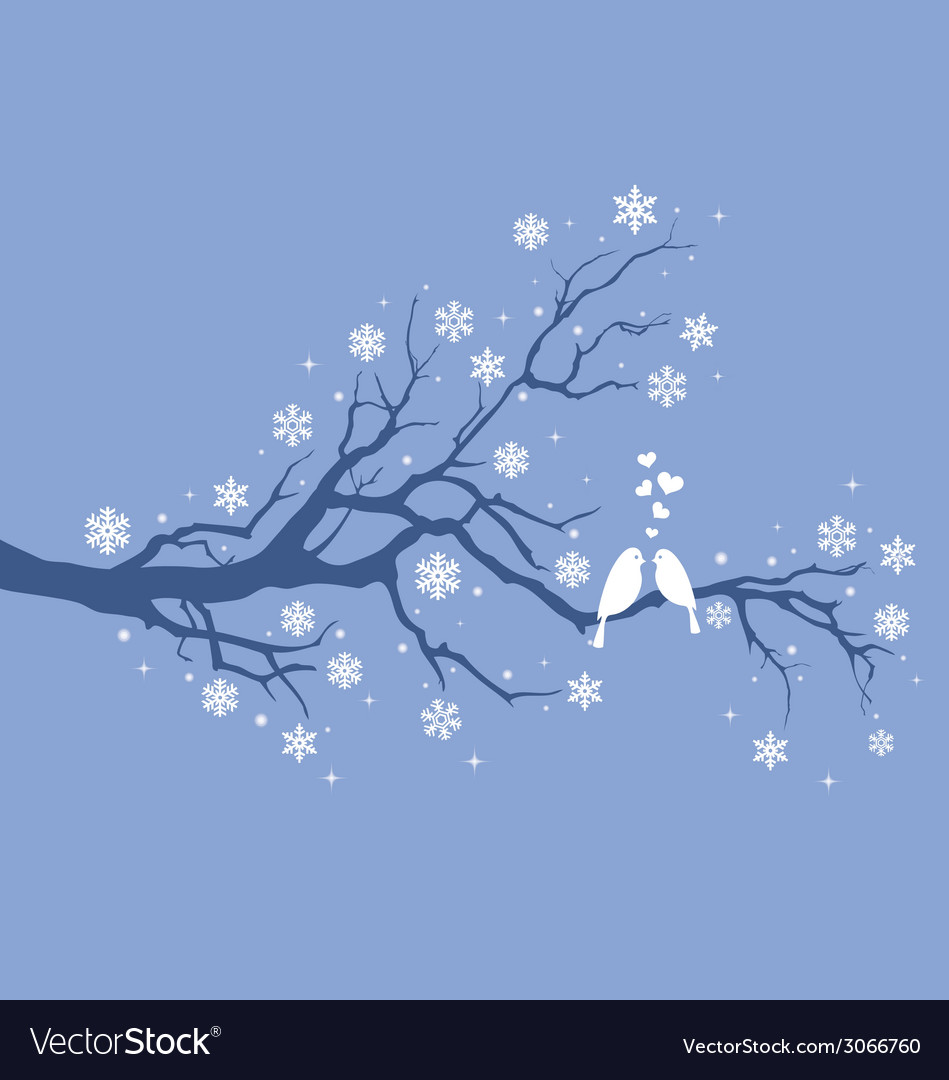 Christmas birds on winter tree vector | Price: 1 Credit (USD $1)
